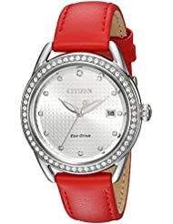 Citizen Womens Drive Quartz Stainless Steel and Leather Casual Watch, Color:Red (Model: FE6110-04A)