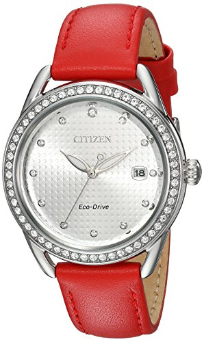 Citizen Women's 'Drive' Quartz Stainless Steel and Leather Casual Watch, Color:Red (Model: FE6110-04A)