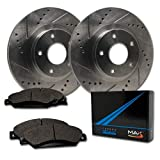 Max Brakes Front Premium Slotted Drilled Rotors w/Metallic Pads Performance Brake Kit TA061031 | Fits: 2008 08 2009 09 2010 10 2011 11 2012 12 Ford Escape w/Steel Piston