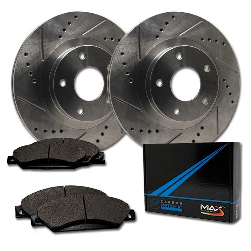 Max Brakes Rear Premium Slotted Drilled Rotors w/Metallic Pads Performance Brake Kit TA169732 | Fits: 2005 05 2006 06 Porsche Cayenne w/330mm Rear Rotors Diameter Max Advanced Brakes