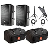 JBL EON610 10'' Powered Speakers with JBL Carrying Bags & AxcessAble Stands
