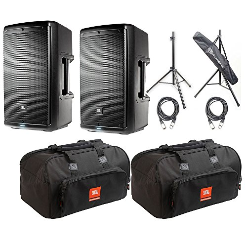 JBL EON610-10' Two-Way Multipurpose Self-Powered Sound Reinforcement Speaker (Pair) with 2 JBL Bags EON610-Bag 10 mm Padding/Dual Accessories/Carry Handles, 2 AxcessAbles XLR-XLR20 Audio Cable and A ()