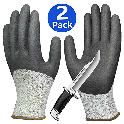 Cut Resistant Gloves, Non-Slip Waterproof Work Gloves, Nitrile Grip Coated Level 5 Protection Safety Gloves, Durable for Gardening Construction Woodworking Auto Multipurpose Use. - Gloves Gardening Waterproof