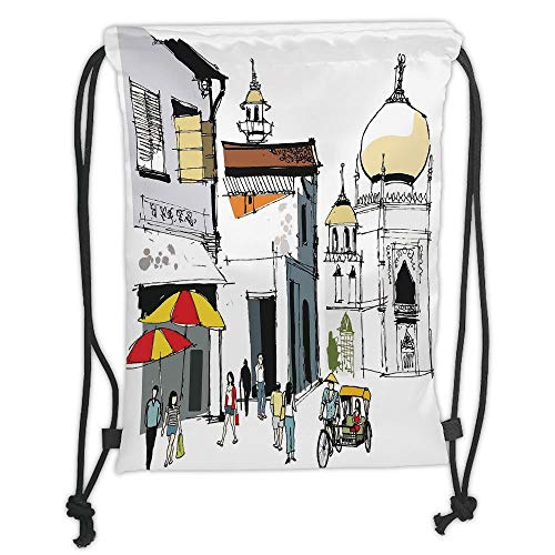 New Fashion Gym Drawstring Backpacks Bags,Asian,Hand Drawn Illustration of Old Singapore Traditional Building People Umbrellas Travel,Multicolor Soft Satin,Adjustable String Closu ()