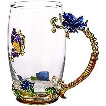 COAWG Glass Tea Cup 12oz Lead Free Handmade Enamel Butterfly And Blue Rose Flower