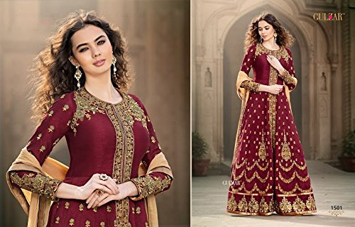 EthnicWear-Wedding-Bridal-Wear-Maroon-Silk-Embroidered-Anarkali-Suit