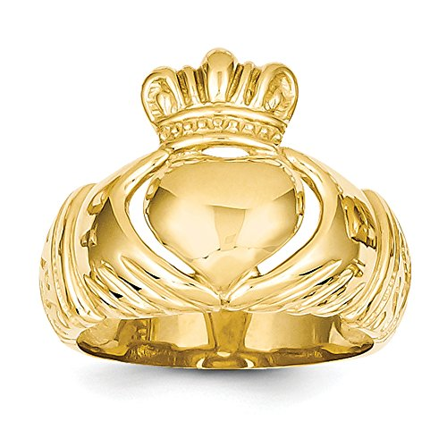 14k Yellow Gold Polished Domed Claddagh Ring D983 Size 8.5