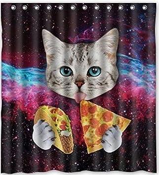 Popular Design Space Nebula Universe Cat Eat Pizza Shower Curtain 66WX72