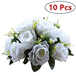 Nuptio-Pcs-of-10-Fake-Flower-Ball-Arrangement-Bouquet15-Heads-Plastic-Roses-with-Base-Suitable-for-Our-Stores-Wedding-Centerpiece-Flower-Rack-for-Parties-Valentines-Day-Home-Dcor-Pure-White