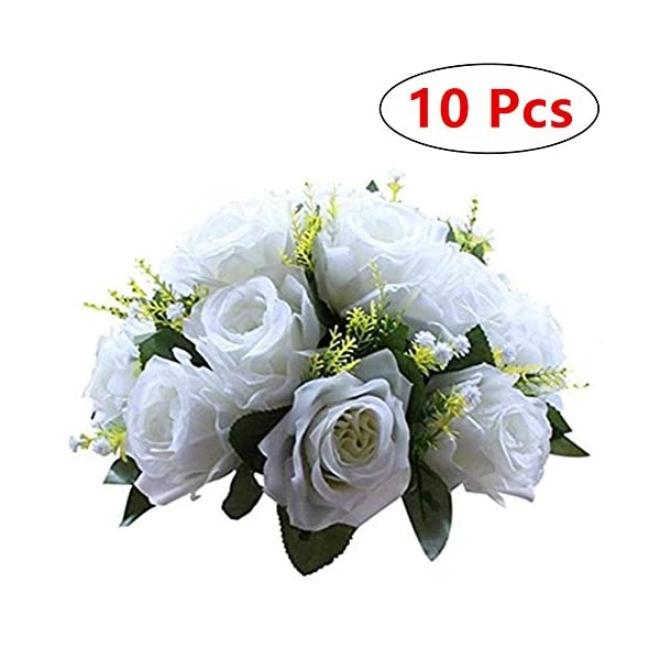 Nuptio Pcs of 10 Fake Flower Ball Arrangement Bouquet,15 Heads Plastic Roses with Base, Suitable for Our Store's Wedding Centerpiece Flower Rack for Parties Valentine's Day Home Décor (Pure White)
