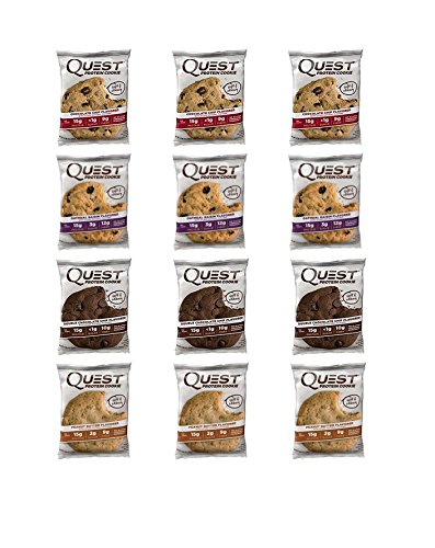 Quest Protein Cookie Variety Pack Oatmeal Raisin   Double Chocolate   Peanut Butter   Chocolate Chip New  12 Pack Variety