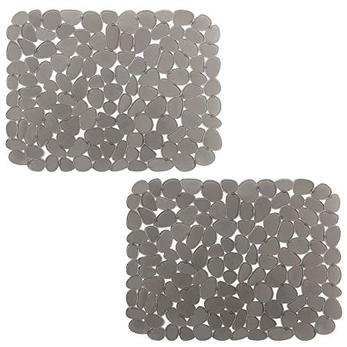 (Pebble Sink Mat BliGli PVC Eco-friendly Kitchen Adjustable Sink Mat Pad Sink Protector (2 packs))