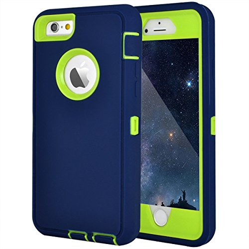 """MAXCURY iPhone 6 Case, iPhone 6s Case, Heavy Duty Shockproof Series Case for iPhone 6/6S (4.7"""") with Built-in Screen Protector Compatible with All US Carriers Retail Package- Navy and Lime"""