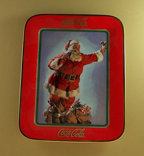 Franklin Mint Limited Edition (Coca-Cola Santa Claus IT'S MY GIFT FOR THIRST Rectangle Plate Christmas Coke by the Franklin Mint Heirloom Collection- Limited Edition Fine Porcelain)