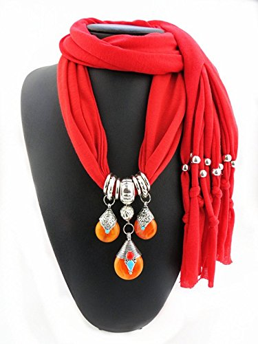 Ysiop Women Dacron Solid Tassel Necklace Scarf Pendant Shawl Red