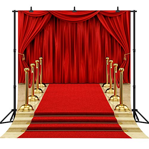 DePhoto 10x10Ft Seamless Red Carpet Stairs Star Vinyl Photography Backdrop Photo Background Studio Prop -
