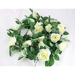 "Colorfulife® 2pcs/lot Lifelike 98.4"" Artificial Silk Hibiscus Rose Flower Vine Rattan Cane Garland Plant Wedding Party Home Garden Decoration,7 Colors 11"
