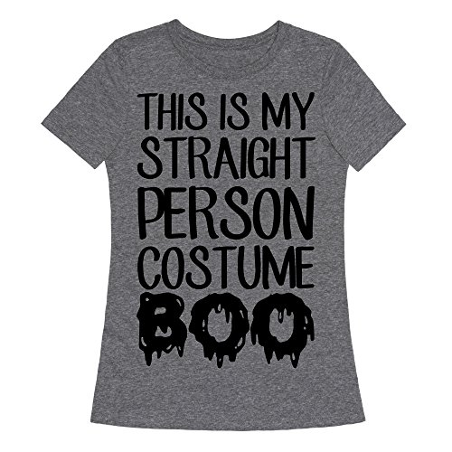 LookHUMAN Straight Costume Heathered Gray XL Womens Fitted Triblend Tee