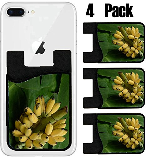 MSD Phone Card holder, sleeve/wallet for iPhone Samsung Android and all smartphones with removable microfiber screen cleaner Silicone card Caddy(4 Pack) IMAGE ID: 32754731 bunch of bananas on the bana (Banana Sale In Leaves Usa For)