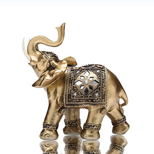 TOUCH MISS Thai Elephant Statues with Trunk Raised Collectible Figurines Home Decor(Large)