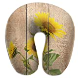Raglan Carnegie Yellow Sunflowers Rustic Wood Travel Pillow Memory Foam Neck Support On A Train Airplane Car Bus Or While Camping - Comfortable U Shaped Cushion