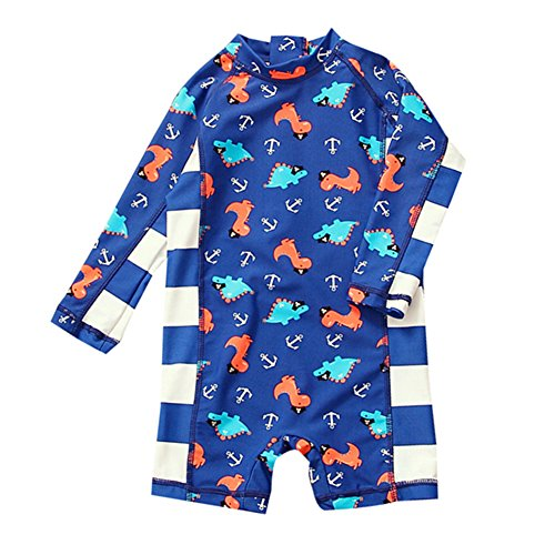 Baby Boys One Piece Dinosaur Swimsuit Kids UV Sun Protective Long Sleeve Bathing Suit Surfing Suit UPF 50+ Navy - X Rated Swimsuits