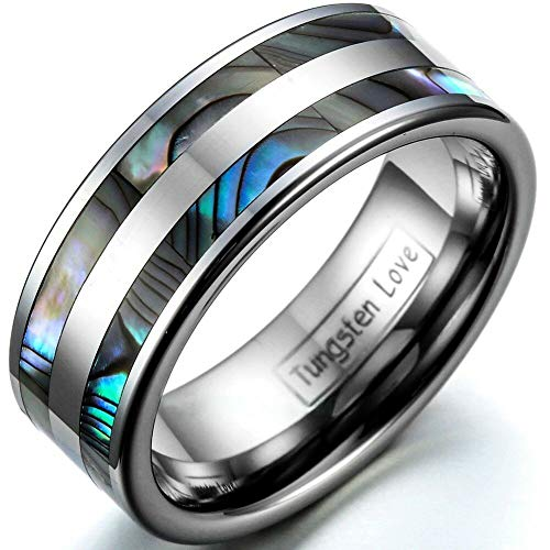 MOTJEW 8mm/6mm Polished Tungsten Carbide Ring Abalone Shell Inlaid Couples Wedding Band