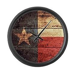 CafePress - Wooden Texas Flag3 - Large 17 Round Wall Clock, Unique Decorative Clock