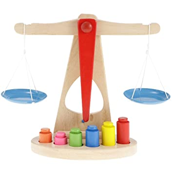 cf898032bf87 Children Toy Wooden Balance Scale with 6 Weights, Great for Children's  Learning
