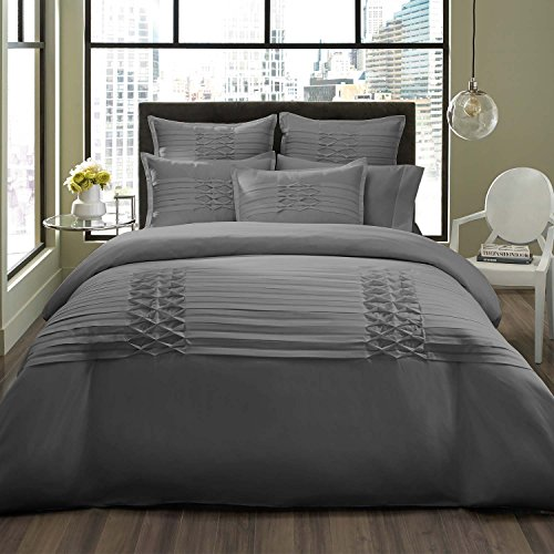 City Scene Triple Diamond Duvet Cover Set, King, Gray -