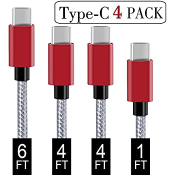 USB Type C Cable,Covery USB C Cable 4 Pack (1x1ft,2x4ft, 1x6ft) Nylon Braided USB C to USB A Charger Cord (USB 2.0) Compatible Samsung Galaxy S9 S8 Note 9 8,Apple New Macbook, Nexus 5X,Google Pixel,LG