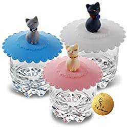 Rimobul 3 pcs Lovely Cats Lid Watertight Silicone Cup Lid Cover Mug Cap Block dust Leakproof Lid (Cat)