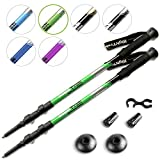 High Trek Quality Ultralight Trekking Poles w/Sweat Absorbing EVA Grips - Your Collapsible Hiking/Walking Sticks Come with Tungsten Tips and Flip Locks - Enjoy The Outdoors