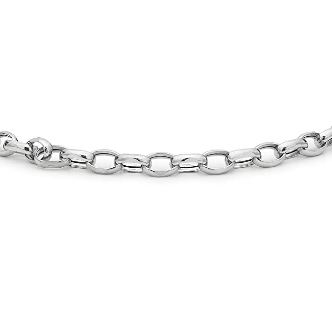 Carissima Gold Women's 9 ct White Gold Hollow Oval Belcher Anklet of Length 25.5 cm/10 Inch 5.24.5855 oBU4U