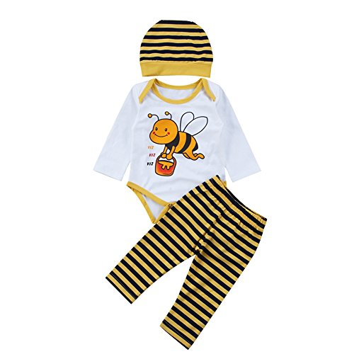 Newborn Bee Outfit (Newborn Baby Boy Girl 3Pcs Outfit Bee Pattern Romper+Striped Long Pants+Bee Design Hat (White, 70(0-6M)))