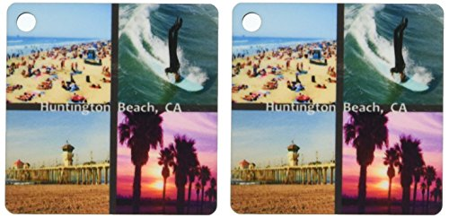 3dRose Huntington Beach Collage - Key Chains, 2.25 x 4.5 inches, set of 2 (kc_26248_1)
