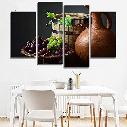 キッチンピクチャージャーグレープオークバレルウォールアートキャンバス絵画用ダイニングルームレストラン-4ピースフレームなし