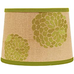 """Home Collection by Raghu 4D320057 Lime & Burlap Zinnia Washer Drum Lampshade, 14"""""""