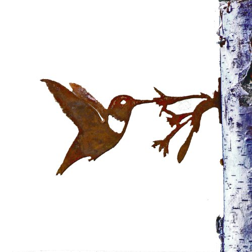 Hummingbird Statue (Elegant Garden Design Hummingbird with Flower, Steel Silhouette with Rusty Patina)