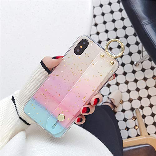Maxlight Wrist Strap Soft TPU Phone Case for iPhone X Xs max XR Marble Gold Foil Holder Case (Style3, for iPhone 7plus 8plus)