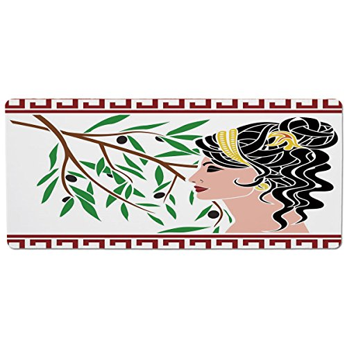 iPrint Pet Mat for Food and Water,Toga Party,Mythological Aphrodite Profile and Olive Branch Greek Borders Framework Print,Multicolor,Rectangle Non-Slip Rubber Mat for Dogs and Cats