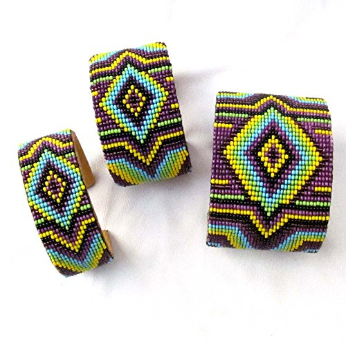 Viva PURPLE YELLOW MIX COLOR BEADWORK BEADED LEATHER CUFF BRACELET WHOLESALE LOT OF (Wholesale Native American Art)