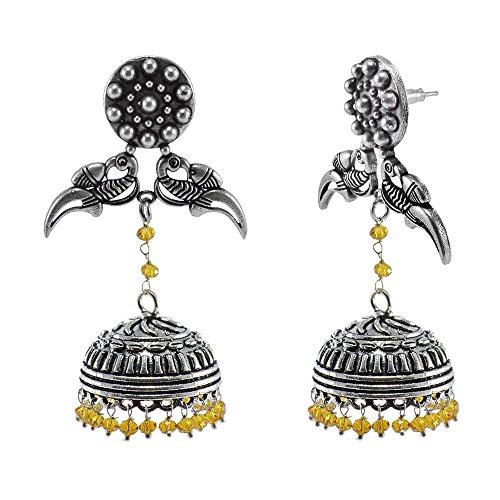 Citrine Crystal-Jaipur Jhumkas-Unique Earrings-Antique Dome Earring Silvestoo Jaipur (Antique Citrine Earrings)