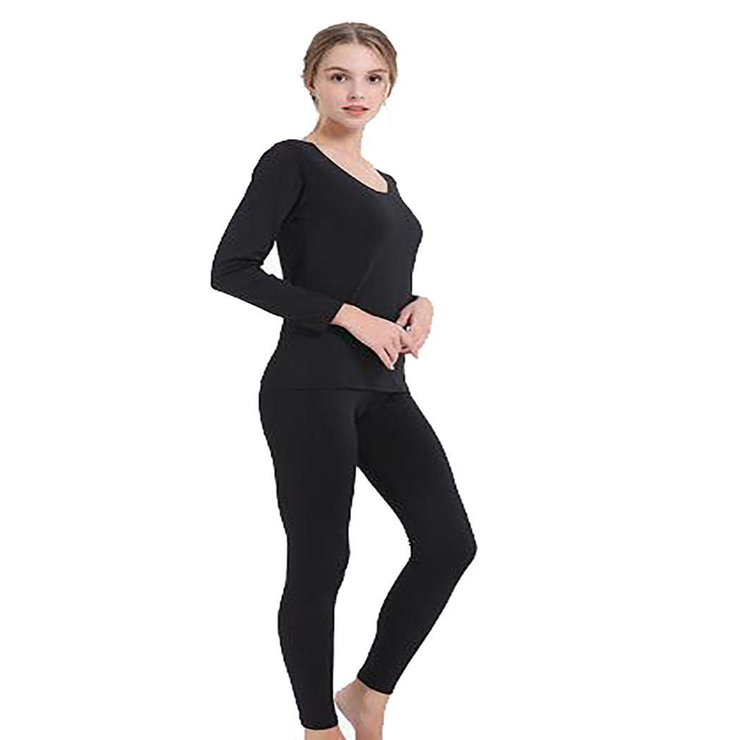 ONERIOME Women Casual Thermal Pajams Set Ultra Soft O-Neck Long Sleeve Solid Slim Thermal Underwear Set Sets,M-XXL Black by ONERIOME