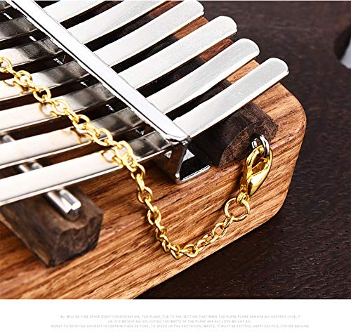 17 keys Kalimba Thumb Piano kit,Portable Thumb Piano Pterocarpus Erinaceus Wooden Body with Tuning Hammer,Pickup,Decorative Tassel Chain,Tremolo chain,Carry Bag by Yosoo- (Image #8)
