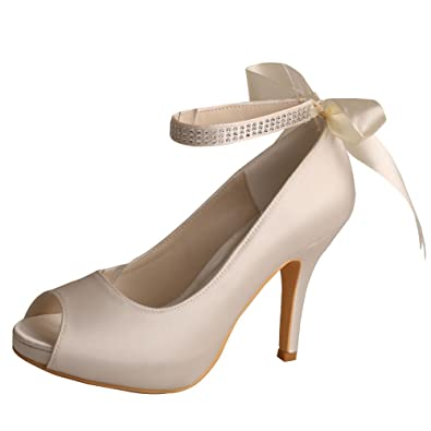 5d3e2b11674 Wedopus MW567 Women s Platform Peep Toe High Heel Satin Bridal Wedding Shoes  Size 4 Off White
