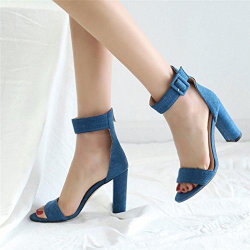 Sandales Club Cheville Chaussures blue Open Épaisses Bleu NVXIE Toe Femme Taille Bloc Talon Denim TqwXP