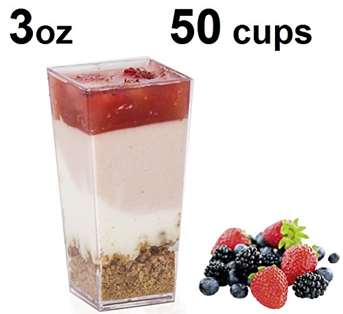 Premium Tall Square Plastic Cups(3oz)Made from Durable Crystal Clear Plastic by Oasis Creations(50 Cups Per Pack)Ideal for Desserts , Appetizers , Entrees , Puddings , Mousse , Sorbet and More!