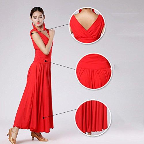 Senza V Red Ballo Donne Grande Prestazione Wqwlf Da Per Collare Vestiti xl Maniche Dancing L Ballroom Swing Moderno qB5E4