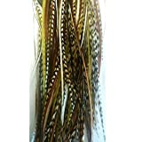 """4""""-6"""" Natural Mix Feathers for Hair Extensions Bunched Together Salon Quality Feathers! 5 Feathers"""